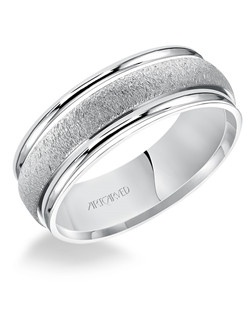 Organic finished flat edges comfort fit men's wedding band. Available in Platinum, 18K White or Yellow Gold, 14K White or Yellow Gold or Palladium.