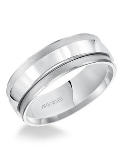 Concave Soft sand and Bright finished bevel edges comfort fit men's wedding band.  Available in Platinum, 18K White or Yellow or Rose Gold, 14K White or Yellow or Rose Gold or Palladium.