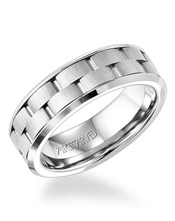 7mm wide men's wedding ring with brick pattern band. Available in Platinum, 18K White or Yellow Gold, 14K White or Yellow Gold or Palladium.