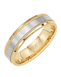 5.5mm wide, two tone, men's wedding band with 14KT yellow gold and milgrain edged inlay.  Available in Platinum, 18K White or Yellow or Rose Gold, 14K White or Yellow or Rose Gold or Palladium. Everlove