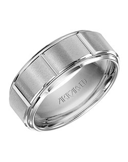 8mm wide, white Tungsten Carbide, comfort fit men's wedding band with vertical grooves. Logan