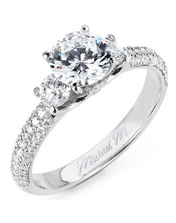 Platinum MICHAEL M engagement ring featuring 1.00 ct G,VS diamonds. Also available in 18K White, Yellow and Rose Gold.
