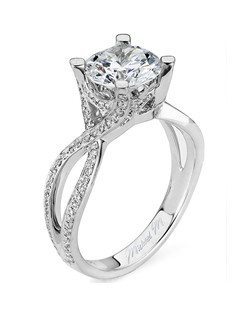 Platinum MICHAEL M engagement ring featuring 0.44 ct G,VS diamonds. Also available in 18K White, Yellow and Rose Gold.