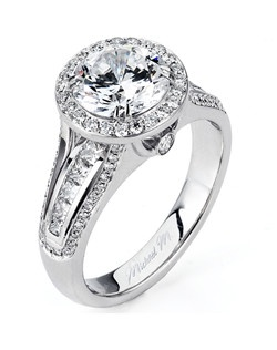 Platinum MICHAEL M engagement ring featuring 0.85 ct G,VS diamonds. Also available in 18K White, Yellow and Rose Gold.