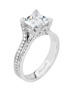 Platinum MICHAEL M engagement ring featuring 0.56 ct G,VS diamonds. Also available in 18K White, Yellow and Rose Gold.