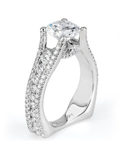 Platinum MICHAEL M engagement ring featuring 1.53 ct G,VS diamonds. Also available in 18K White, Yellow and Rose Gold.