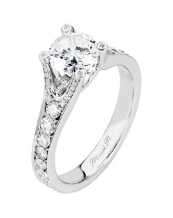Platinum MICHAEL M engagement ring featuring 0.58 ct G,VS diamonds. Also available in 18K White, Yellow and Rose Gold.