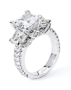 Platinum MICHAEL M engagement ring featuring 3.14 ct G,VS diamonds. Also available in 18K White, Yellow and Rose Gold.
