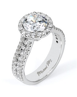 Platinum MICHAEL M engagement ring featuring 0.88 ct G,VS diamonds. Also available in 18K White, Yellow and Rose Gold.