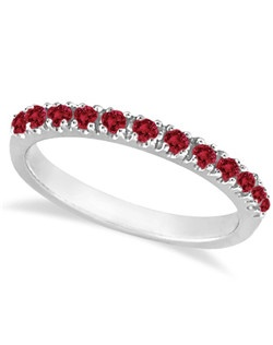Thirteen round genuine natural red rubies are circling halfway around this gorgeous gemstone band. The stones are set in a sparkling prong setting.<p>Wear it as a wedding band, as an anniversary ring, as a standalone right hand fashion ring, or as a ring guard with our other stackable rings.