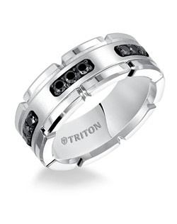 8MM Comfort Fit White Tungsten Silver Diamond Band. Price listed is an estimate only.