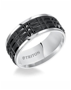 9mm Black and White Tungsten Carbide Step Edge Comfort Fit Band with Center Cut Texture