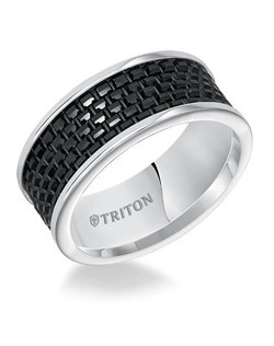 9mm Black and White Tungsten Carbide Comfort Fit band with Textured Center. Price listed is an estimate only.