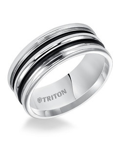 9mm White Tungsten Carbide Comfort Fit Band with Double Parallel Black Powdercoat Recessed Grooves