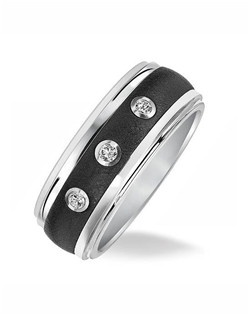 Black and White Tungsten Carbide Men's Band with Diamond Detail
