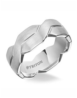 8mm White Tungsten Woven Engraved Comfort Fit Band