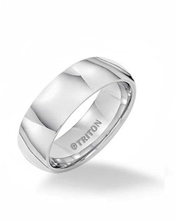8mm Tungsten carbide comfort fit band with channel set diamonds set in 18k White Gold