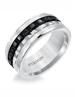 9mm Multi Textured Flat Bevel Edge Black and White Tungsten Comfort Fit Band