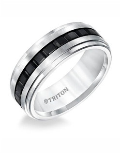 8mm Step Edge Flat Black And white tungsten comfort fit band with center texture