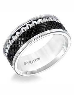 9mm Multi Textured Black and White Tungsten Comfort Fit Band