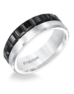 7mm Flat with Bevel Edge Multi Texture Black and White Tungsten Carbide Comfort Fit Band