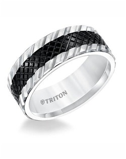8mm Flat Multi Textured Black and White Tungsten Comfort Fit Band