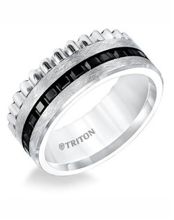 9mm Multi Textured Flat Black and White Tungsten Comfort Fit Band