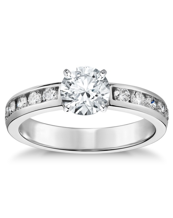 blue nile channel set engagement ring wedding ring