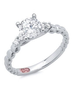 Available in White Gold 18KT and Platinum.0.15 RD. Price excludes center stone