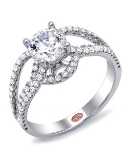 Available in White or Yellow Gold 18KT and Platinum. 0.54 RD. Price excludes center stone