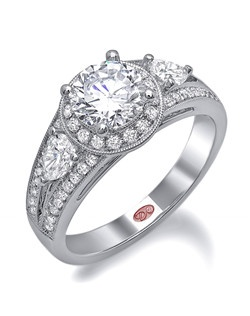 Available in White or Yellow Gold 18KT and Platinum. 0.70 CTW. Price excludes center stone