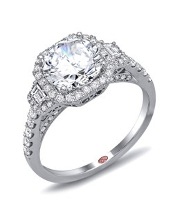 Available in White or Yellow Gold 18KT and Platinum. 0.60 CTW. Price excludes center stone