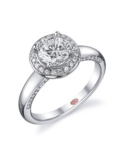 Available in White or Yellow Gold 18KT and Platinum. 0.31 RD. Price excludes center stone