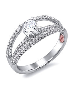 Available in White or Yellow Gold 18KT and Platinum. 0.45 RD. Price excludes center stone