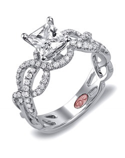 Available in White or Yellow Gold 18KT and Platinum. 0.35 RD。