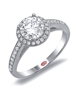 Available in White or Yellow Gold 18KT and Platinum. 0.28 RD. Price excludes center stone