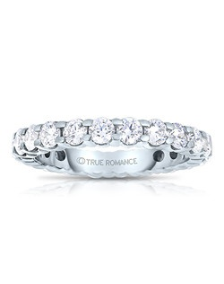 A classic design, this diamond eternity band showcases diamonds that share a common prong. This style comes in multiple diamond weights as well as finger sizes from 3.5 to 10. Available in Platinum, as well as 18K and 14K White, Yellow or Rose Gold. Priced as shown 2.02cts 14K White Gold Size 7