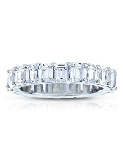 A classic design, this diamond eternity band showcases Emerald Cut diamonds that share a common prong. This style comes in multiple diamond weights as well as finger sizes from 3.5 to 10. Available in Platinum, as well as 18K and 14K White, Yellow or Rose Gold. Priced as shown 3.52cts 14K White Gold Size 7