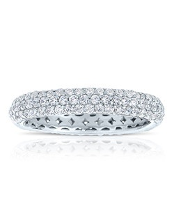 A classic design, this diamond eternity band showcases Round Cut diamonds that are pave set. This style comes in multiple diamond weights as well as finger sizes from 3.5 to 10. Available in Platinum, as well as 18K and 14K White, Yellow or Rose Gold. Priced as shown 1.35cts 14K White Gold Size 7
