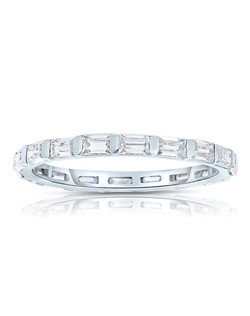 A classic design, this diamond eternity band showcases Baguette Cut diamonds that are bar set. This style comes in multiple diamond weights as well as finger sizes from 3.5 to 10. Available in Platinum, as well as 18K and 14K White, Yellow or Rose Gold. Priced as shown 0.72cts 14K White Gold Size 7