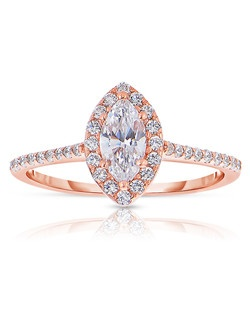 An elegant design, this diamond engagement ring showcases a prong-set diamond halo that crowns the center stone. This style accommodates various center stone sizes & shapes. Available in Platinum, as well as 18K and 14K White, Yellow or Rose Gold. Priced as shown .31cts 14K Rose Gold