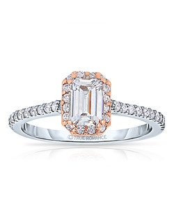 An elegant design, this diamond engagement ring showcases a prong-set diamond halo that crowns the Emerald Shaped center stone. This style accommodates various center stone sizes & shapes. Available in Platinum, as well as 18K and 14K White, Yellow or Rose Gold. Priced as shown 0.37cts 14K WG