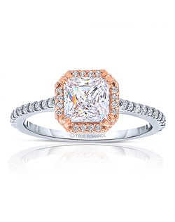 An elegant design, this diamond engagement ring showcases a prong-set diamond halo that crowns the center stone. This style accommodates various center stone sizes & shapes. Available in Platinum, as well as 18K and 14K White, Yellow or Rose Gold. Priced as shown 0.25cts 14K Rose Gold
