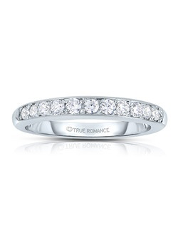 A classic design, this low profile diamond band showcases diamonds that share a common prong. This style comes in multiple diamond weights as well as finger sizes from 3.5 to 10. Available in Platinum, as well as 18K and 14K White, Yellow or Rose Gold. Priced as shown 0.52cts 14K White Gold Size 7 Price excludes center stone