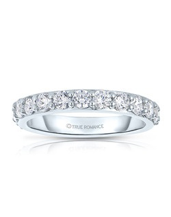 A classic design, this low profile diamond band showcases diamonds that share a common prong. This style comes in multiple diamond weights as well as finger sizes from 3.5 to 10. Available in Platinum, as well as 18K and 14K White, Yellow or Rose Gold. Priced as shown 1.02cts 14K White Gold Size 7