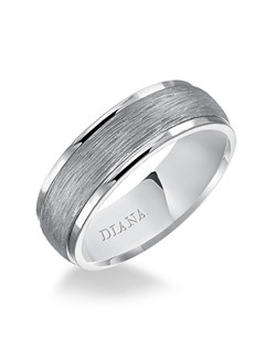 Engraved cast insert comfort fit men's wedding band with horizontal textured finish. Available in Platinum, 18K & 14K Gold and in White, Yellow or Rose Gold. Price listed is an estimate only.