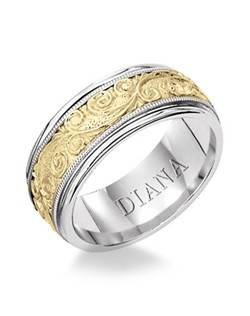 Two-tone men's wedding band with detailed engraving. Available in Platinum, 18K & 14K Gold and in White, Yellow or Rose Gold.