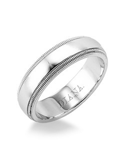 Comfort fit men's wedding band with step edge and milgrain detail. Available in Platinum, 18K & 14K Gold and in White, Yellow or Rose Gold.
