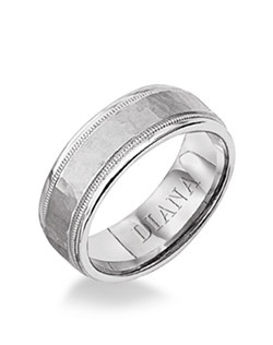 Comfort Fit men's wedding band with hammer finish and milgrain detail. Available in Platinum, 18K & 14K Gold and in White, Yellow or Rose Gold.