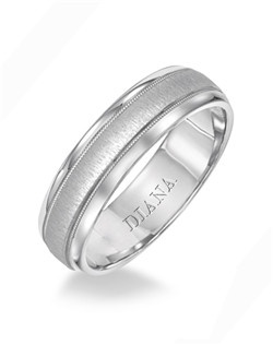 Comfort fit men's wedding band with vertical finish and milgrain detail. Available in Platinum, 18K & 14K Gold and in White, Yellow or Rose Gold.